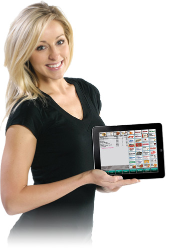 Waitress using iPad from Leebro POS