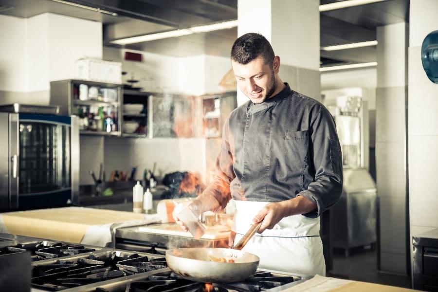 Chef working in a restaurant kitchen