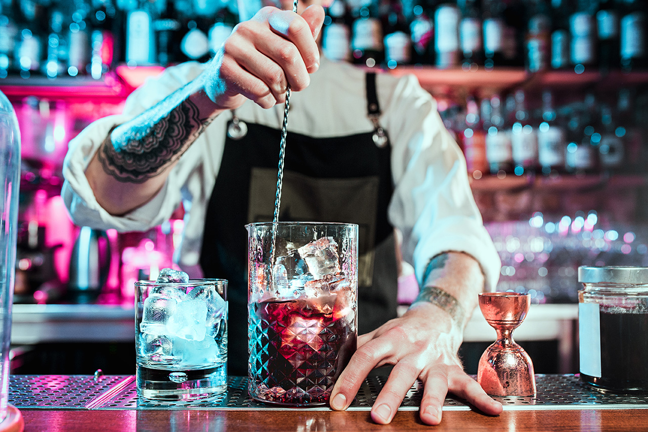bartender mixing drink